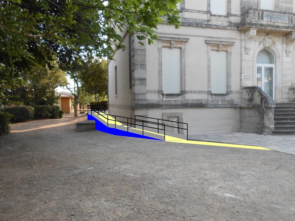 rampe d'accès mairie avec bandeau 1