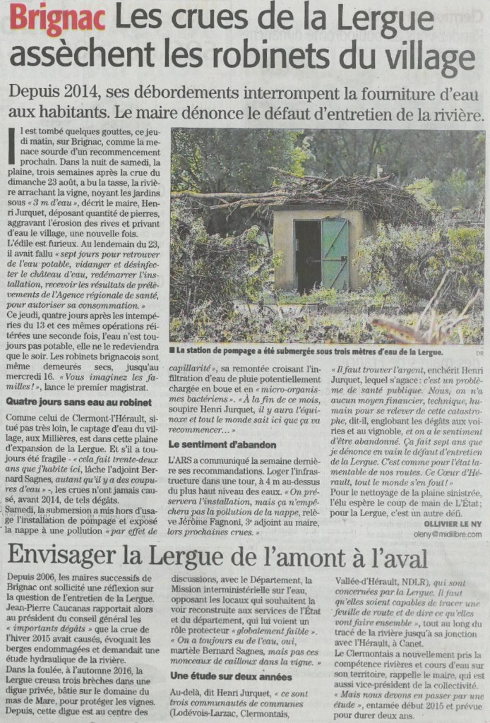 Article Midi libre, Lergue 1 et 2