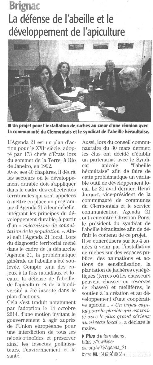 Article abeilles Midi Libre Brignac