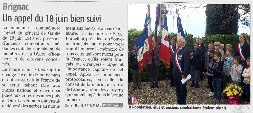 article 18 juin Brignac