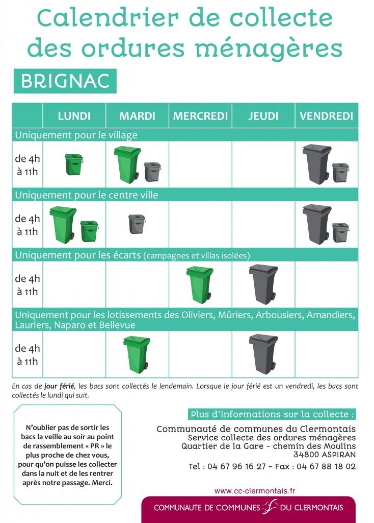 Calendrier de collecte - Brignac